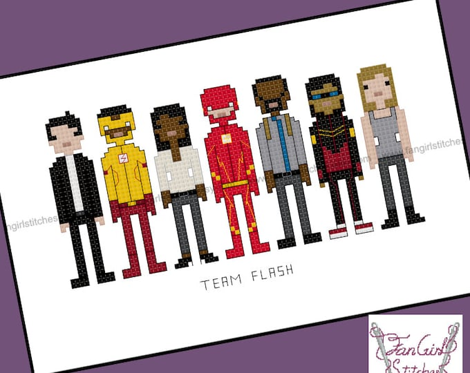 Team Flash themed Cross Stitch - PDF Pattern - INSTANT DOWNLOAD