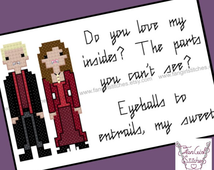 Buffy inspired Spike Drusilla Love Quote Cross Stitch card - PDF Pattern - INSTANT DOWNLOAD