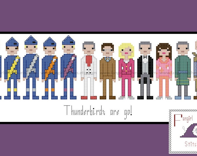 Thunderbirds Are Go themed character cross stitch - PDF Pattern - INSTANT DOWNLOAD