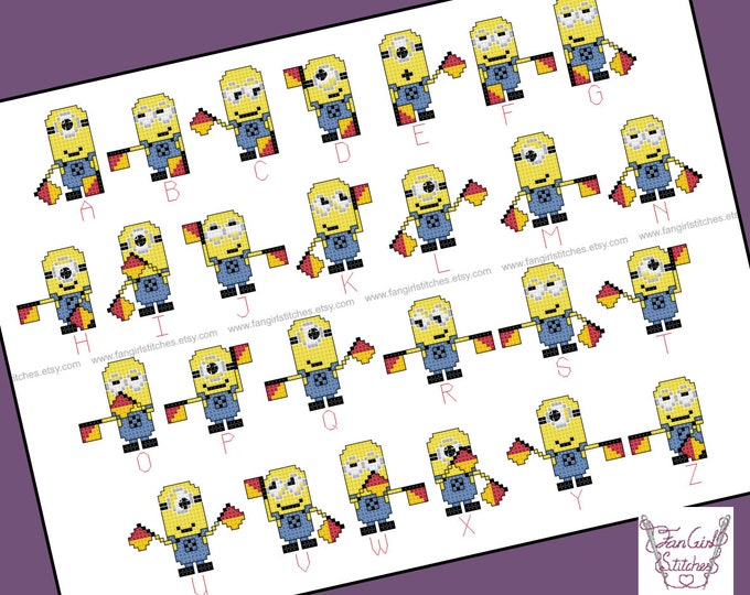 Minions Themed Semaphore Alphabet Cross Stitch - PDF pattern - INSTANT DOWNLOAD