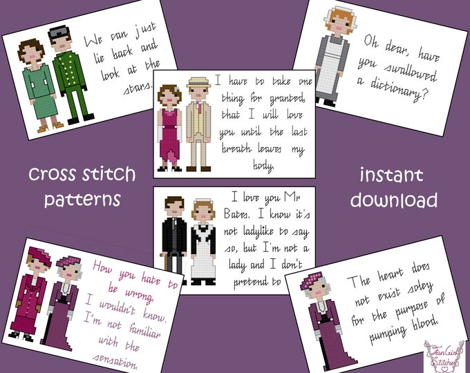 Set of 6 Cross Stitch Patterns, inspired by Downton Abbey