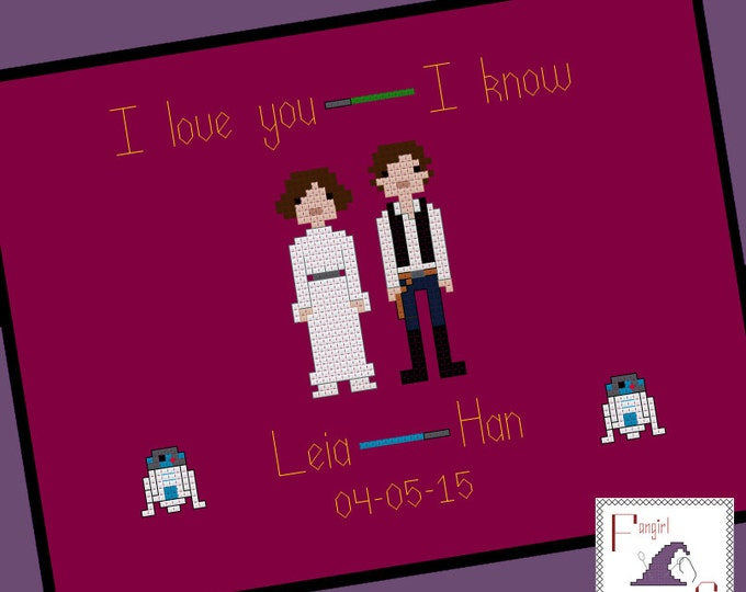Star Wars themed Wedding Sampler Cross Stitch Pattern - Leia and Han - PDF Pattern