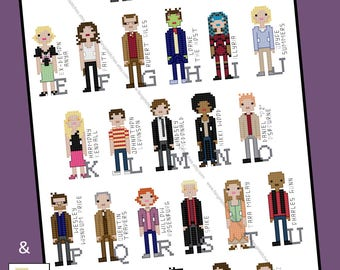 Buffy and Angel Universe inspired Character Alphabet Cross Stitch pattern - PDF Pattern - INSTANT DOWNLOAD
