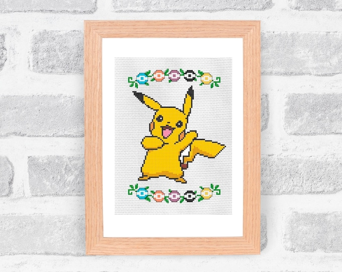 Unofficial Pokemon Pikachu cross stitch pattern - PDF Pattern - INSTANT DOWNLOAD
