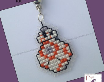 Star Wars inspired BB8 BB-8 cross stitch keyring KIT - all you need to make your own