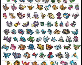 Pokemon parody Generation IV (fourth, 4th) cross stitch pattern featuring 119 pokemon - PDF Pattern