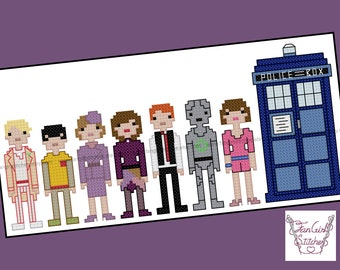 Doctor Who themed Fifth Doctor and companions cross stitch pattern - PDF pattern - INSTANT DOWNLOAD