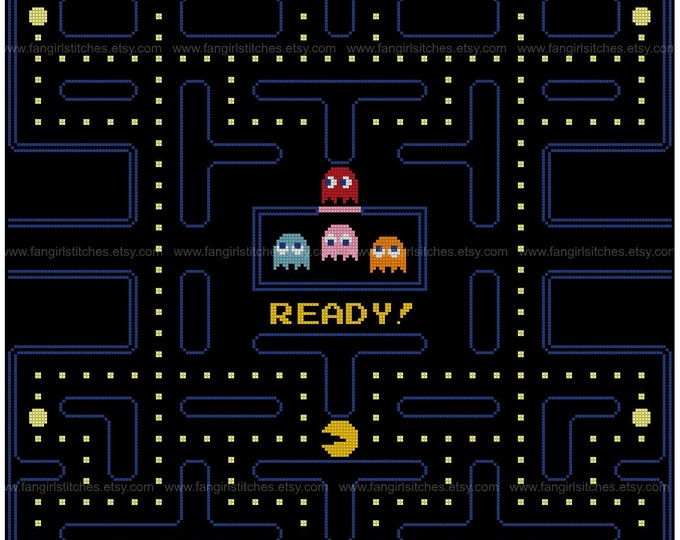 Pac-Man Opening Screen Cross Stitch - PDF Pattern - designed for 18 count aida - INSTANT Download