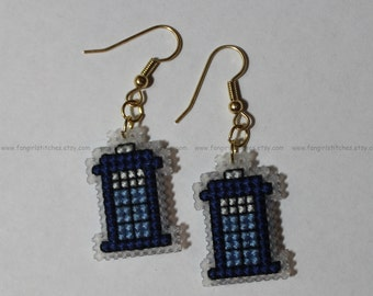 Doctor Who inspired Tardis cross stitch earrings KIT - all you need to make your own pair