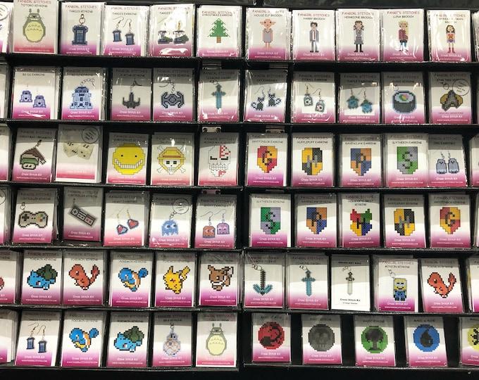 Cross Stitch Mini Kits - Perfect For Beginners - Earrings Keyrings Brooch