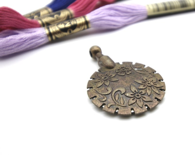 thread cutter pendant - antique gold - airplane safe - scissor alternative