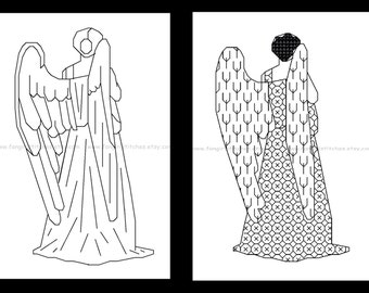 Doctor Who inspired Weeping Angel in Blackwork - PDF cross stitch pattern x 2 - INSTANT DOWNLOAD