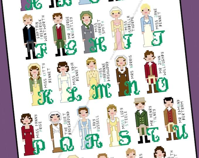 Jane Austen inspired Character Alphabet Cross Stitch pattern - PDF Pattern - INSTANT DOWNLOAD