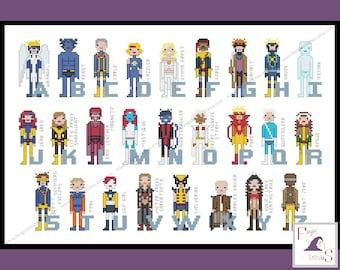 Superhero Comic Book Alphabet Cross Stitch Pattern - X-Men Inspired PDF Pattern - INSTANT Download