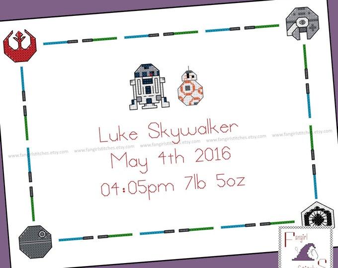 Star Wars Parody Cross Stitch Baby Sampler Record - PDF Pattern - INSTANT DOWNLOAD