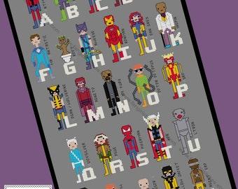 Superhero Comic Book Alphabet Cross Stitch Pattern - Marvel Inspired PDF Pattern - INSTANT Download