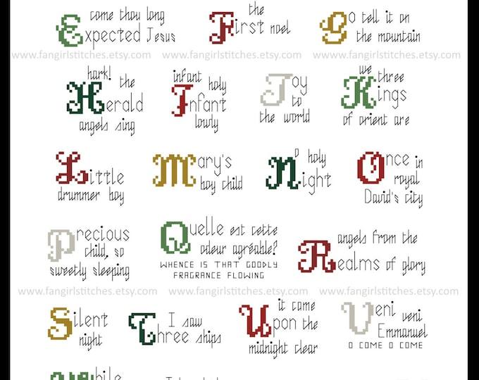 Christmas Carol Alphabet ABC cross stitch pattern - PDF pattern - INSTANT Download