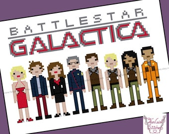 Battlestar Galactica Counted Cross Stitch - PDF Pattern - INSTANT Download