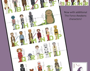 Star Wars Themed Alphabet of Characters Cross Stitch - PDF Pattern - INSTANT DOWNLOAD