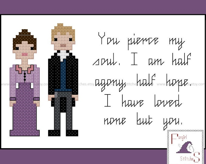 Jane Austen's Persuasion Characters and Quote cross stitch pattern - PDF pattern - INSTANT Download