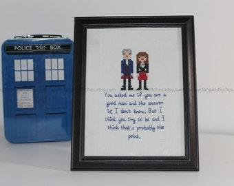 Doctor Who inspired Peter Capaldi A Good Man Cross Stitch - PDF Pattern