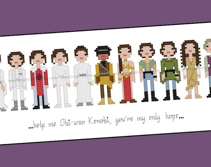 Star Wars themed Princess Leia cross stitch - PDF Pattern - INSTANT Download
