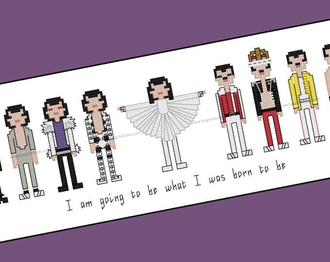 Freddie Mercury counted cross stitch - PDF Pattern - INSTANT DOWNLOAD