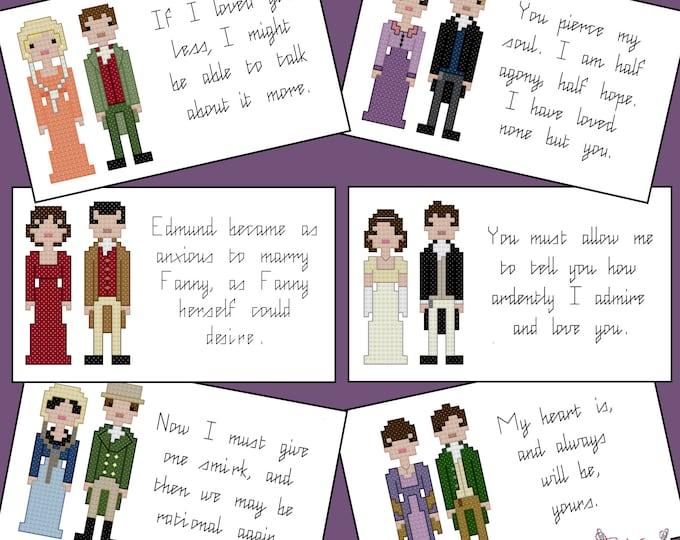Jane Austen cross stitch pattern set - PDF Pattern - INSTANT DOWNLOAD