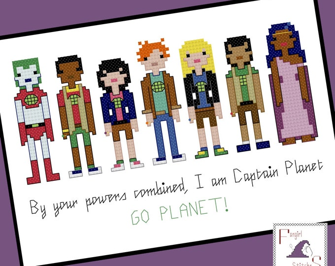 Captain Planet and the Planeteers Inspired Cross Stitch Pattern - PDF Pattern - INSTANT DOWNLOAD