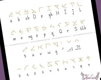 Klingon Alphabet Star trek themed Cross Stitch - PDF pattern - INSTANT DOWNLOAD