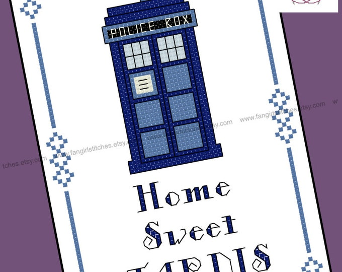 Doctor Who themed Home Sweet Tardis cross stitch pattern - PDF pattern - INSTANT DOWNLOAD