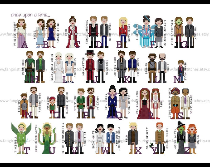 Once Upon A Time inspired Character Alphabet Cross Stitch - PDF Pattern - INSTANT DOWNLOAD