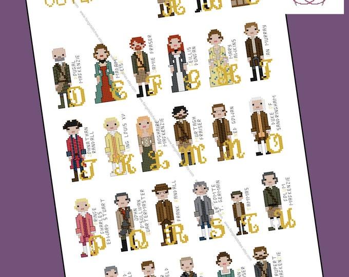 Outlander Alphabet themed cross stitch pattern - PDF pattern - INSTANT DOWNLOAD