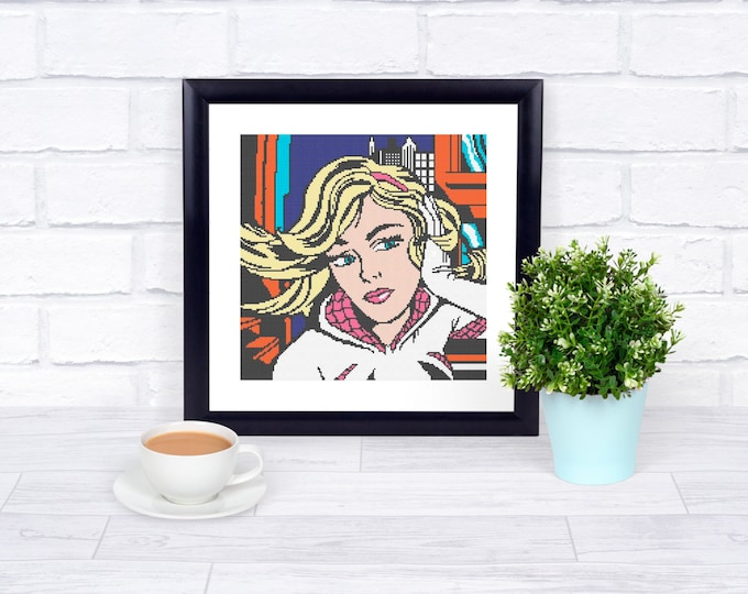Unofficial Spider-Gwen Counted Cross Stitch - Iconic Pop Art Imagery - PDF Pattern - INSTANT DOWNLOAD