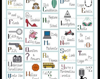 Veronica Mars inspired Alphabet cross stitch pattern - PDF Pattern