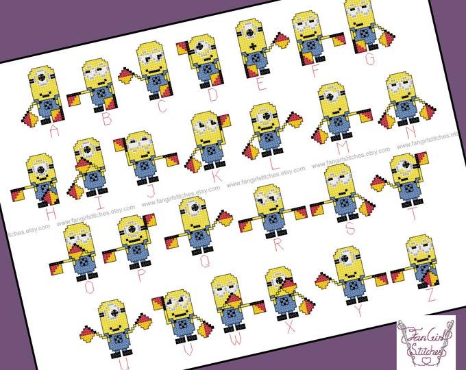 Minions Themed Semaphore Alphabet Cross Stitch - PDF pattern - INSTANT DOWNLOAD