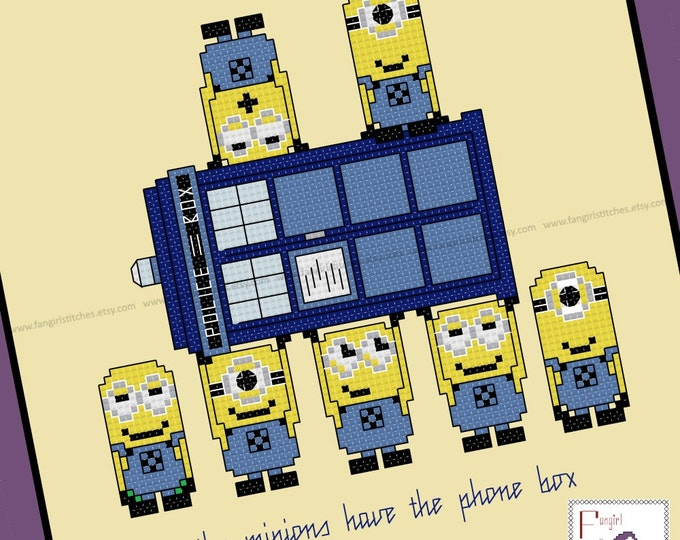 Minions Have The Phone Box Cross Stitch - PDF Pattern - Despicable Me / Doctor Who mashup - INSTANT Download