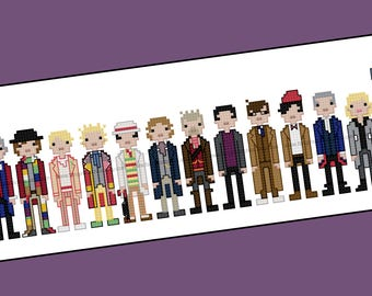 The 14 Doctors - Unofficial Doctor Who cross stitch pattern - PDF pattern - INSTANT DOWNLOAD