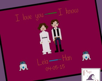 Star Wars themed Wedding Sampler Cross Stitch Pattern - Leia and Han - PDF Pattern