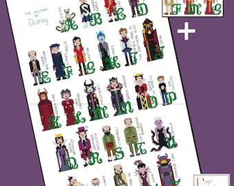 Disney inspired Villains Alphabet Cross Stitch - PDF Pattern - INSTANT DOWNLOAD