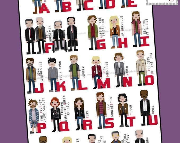 Supernatural Inspired Alphabet Cross Stitch Pattern - PDF pattern - INSTANT DOWNLOAD