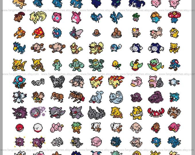 Gotta Catch 'em All 151 Original Pokemon Parody Cross Stitch Pattern - Instant Download PDF