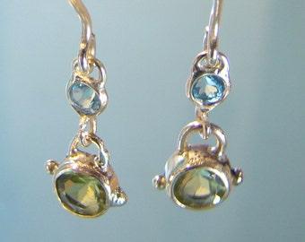 Blue topaz earrings, Gold earrings, Peridot, blue topaz, 14k gold earrings, dangle earrings, Gemstone Earrings, Birthstone Earrings, unique