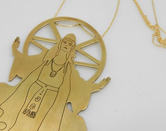 witch Necklace,woman necklace, statement necklace, Gold plated pendant, witches, gold plated charm, girls necklace, big necklace