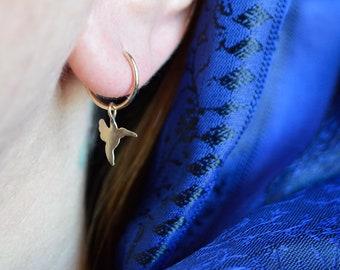 Dangle earrings, Gold hoop earring, girls earrings, Hummingbird, cartilage earring, belly button piercing, birds, rook,  tragus, helix