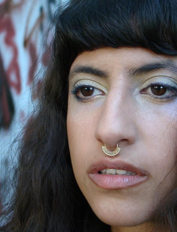 Lakshmi Gold Septum Ring Indian Septum Big Nose Jewelry Etsy
