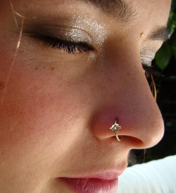 Diamond Nose Ring Chakana Nose Ring Gold Nose Ring Cross Etsy