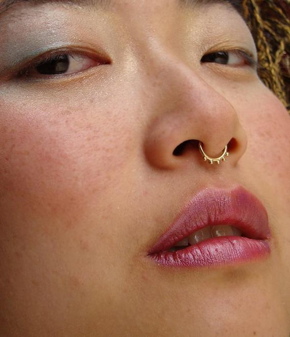 Gold Septum Ring Septum Piercing Septum Dainty Nose Ring Etsy