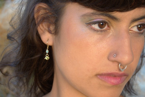Energetic Ruby Diamond Septum Septum Ring Indian Septum Gift For Her Gold Septum Piercing Body Piercing Jewelry