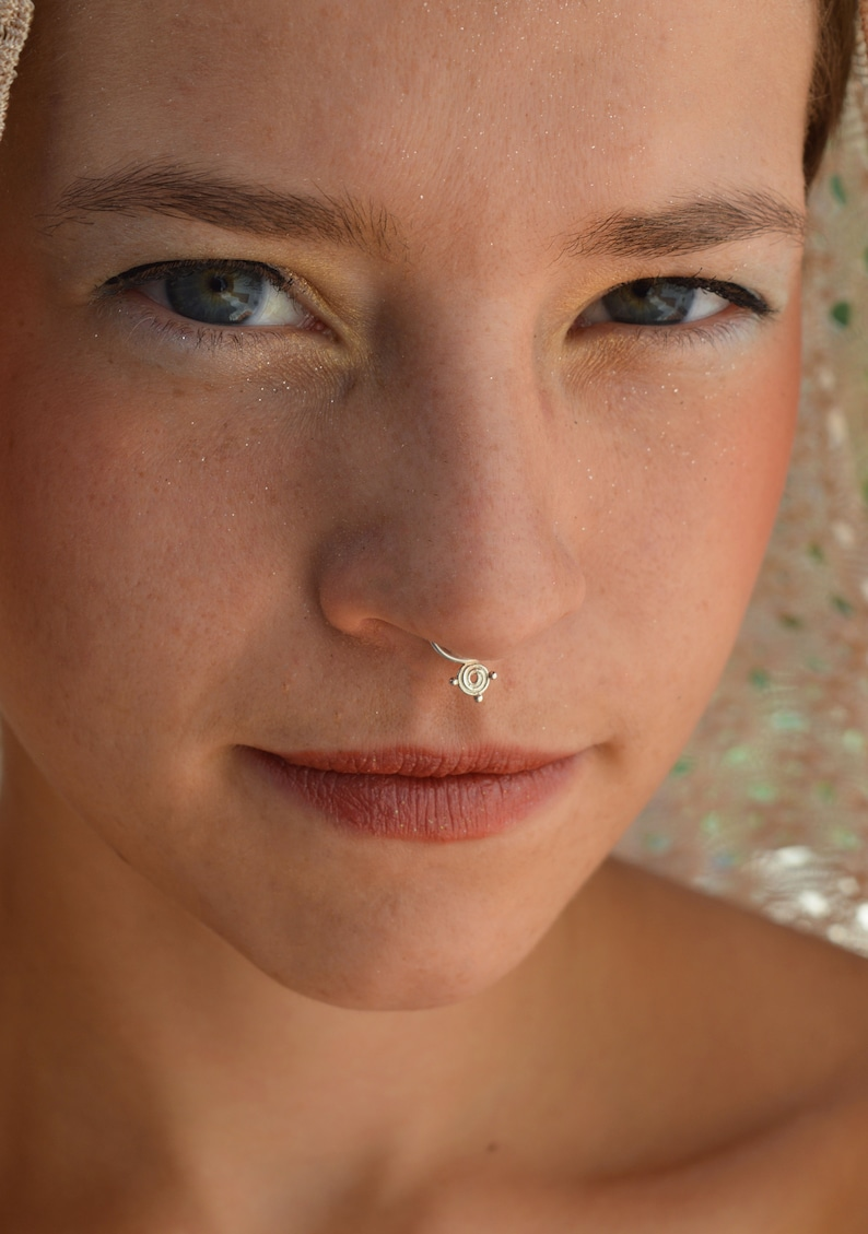 Nose Piercing Septum Ring Silver Nose Piercing Silver Septum Spiral Septum Nose Ring Tribal Septum Ring Tragus Helix Nostril Ring